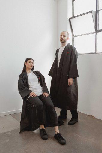kodama apparel - edo long coat black1