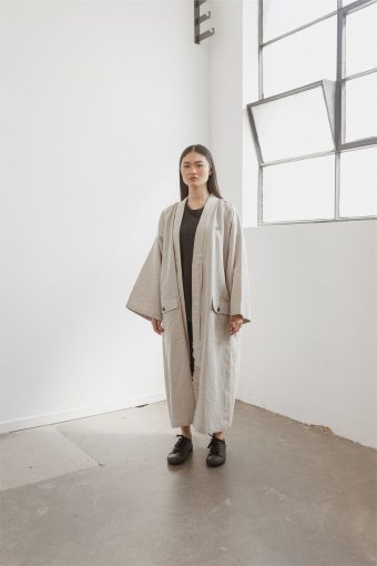 kodama apparel - edo long coat natural4