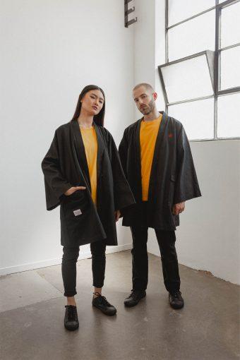kodama apparel - shogun overcoat black1