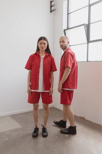 kodama apparel - hankai short sleeve shirt red10