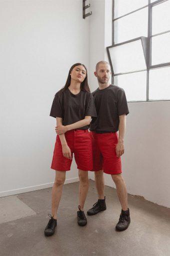 kodama apparel - zen cargo shorts red2